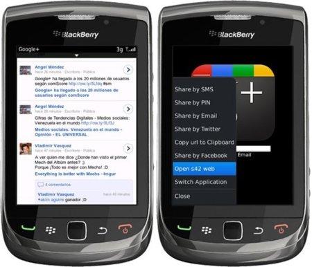 Google+ para BlackBerry OS 6, aunque no de forma oficial