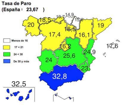 Mapa del paro EPA: Andalucía y Canarías siguen por encima del 32% de tasa de paro