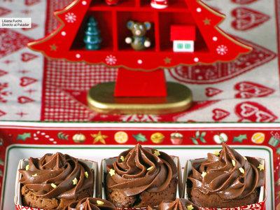 Cupcakes de chocolate y miel. Receta de Navidad