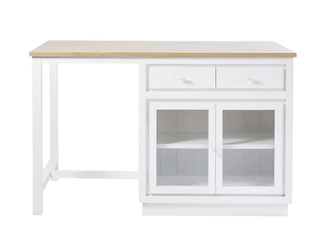 Isla central blanca con 6 cajones y 2 puertas EMBRUN. La madera de este mueble cuenta con la certificación FSC. Dimensiones (cm): Alto95 x Ancho150 x Profundo80
