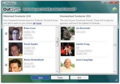 Outsync, importa las fotos de los contactos de Facebook