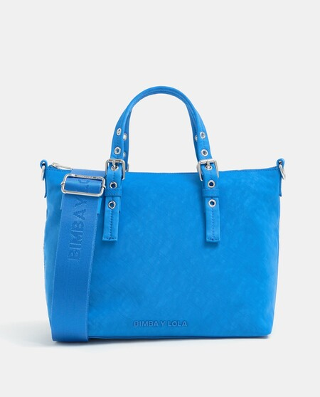 Tote Mediano Bimba Y Lola De Nylon En Azul Con Varias Asas