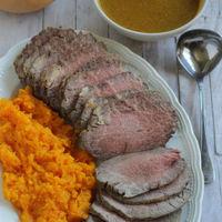 Rabillo de ternera asado con salsa de naranja y calabaza