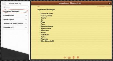 iCloud Notas