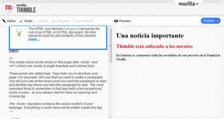 Ayudas de Mozilla Thimble
