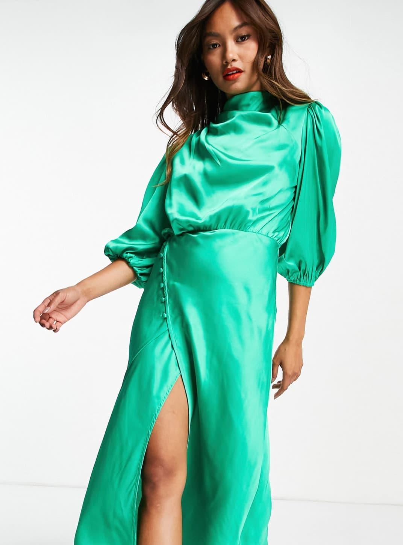 Vestido de tarde midi verde esmeralda con cuello desbocado, detalle plisado y mangas abullonadas de satén de ASOS DESIGN