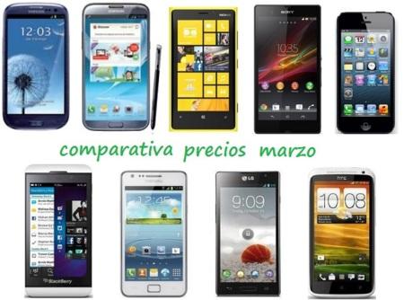 Comparativa Precios Smartphones más potentes Marzo 2013