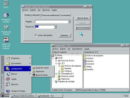 Menú configuración de Windows 95