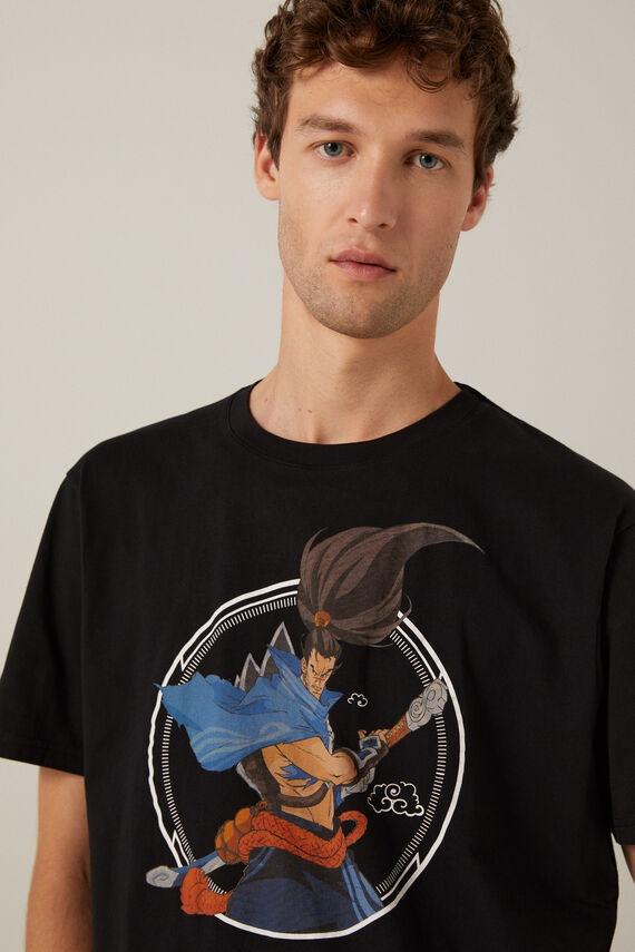 Camiseta negra en algodón con estampado de LOL