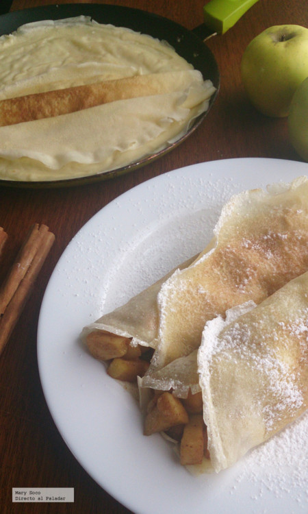 Crêpes de manzana a la canela. Receta