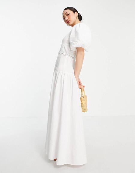 Vestido Largo Blanco Con Pinzas E Inserto De Encaje De Asos Design