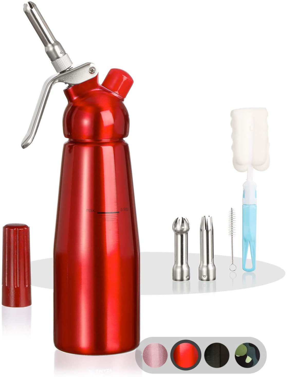 Amazy Sifon de cocina para espuma profesional - Incluye 3 accesorios decorativos de acero inoxidable y 1 cepillo (Rojo 500 ml) - Dispensador de nata montada para crema, nata, espuma y soda.