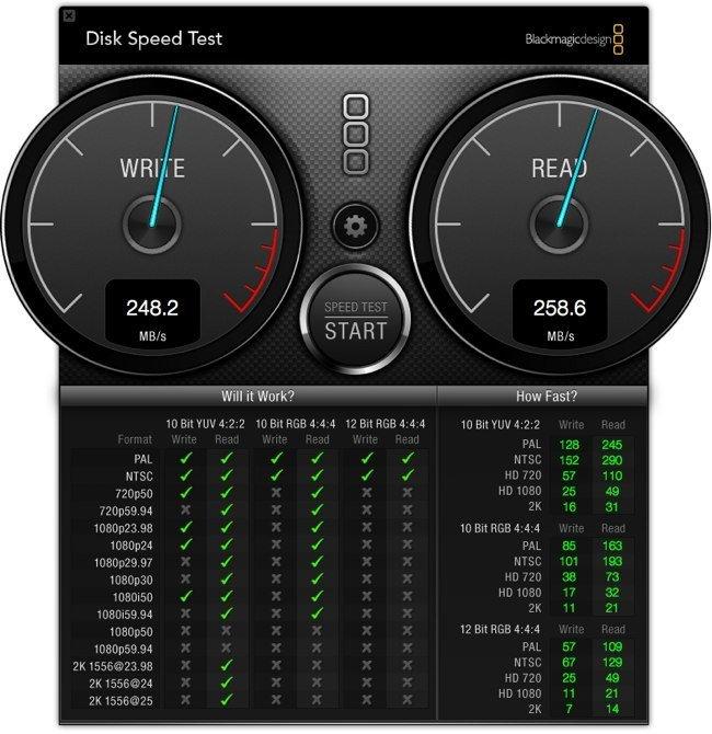 Resultados de Disk Speed Test en un MacBook Air