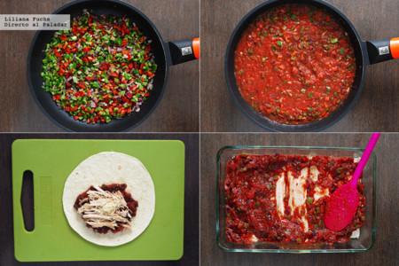 Enchiladas de Pollo. Pasos
