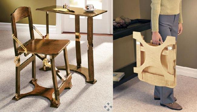 Escritorio y silla plegables for Sillas para oficina de madera