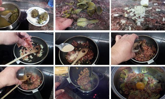 Alcachofas con huevo. Receta