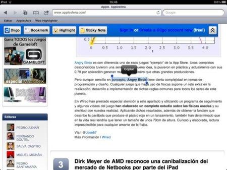 Web Highlighter para el iPad, resaltado de sintaxis desde Safari