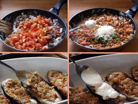 Receta de berenjenas rellenas con salsa de queso, pasos