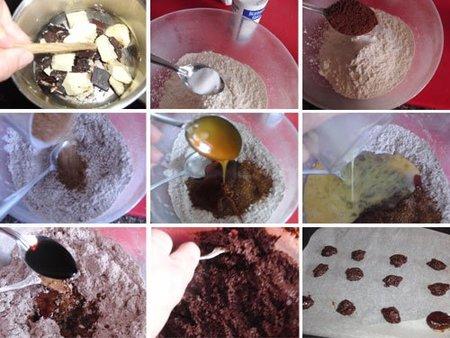 Preparación de las galletas de chocolate y melaza