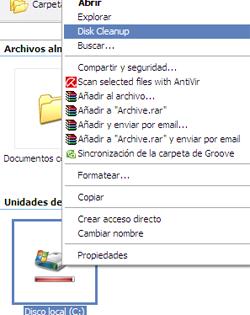 Truco: Accede al limpiador de discos desde el botón derecho en Windows