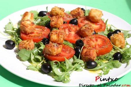 Receta de ensalada griega con queso feta frito