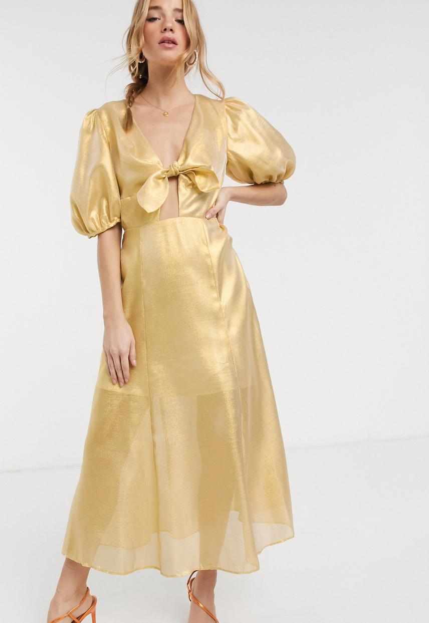 Vestido midi en amarillo metalizado Caution de Keepsake