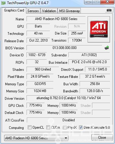 AMD 6850 GPUZ
