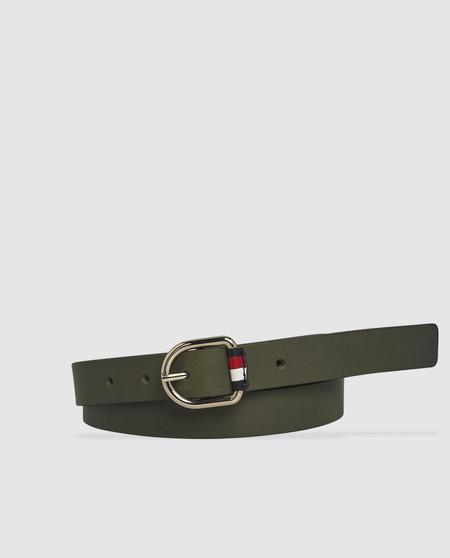 Cinturón de mujer Tommy Hilfiger de piel kaki con hebilla pequeña
