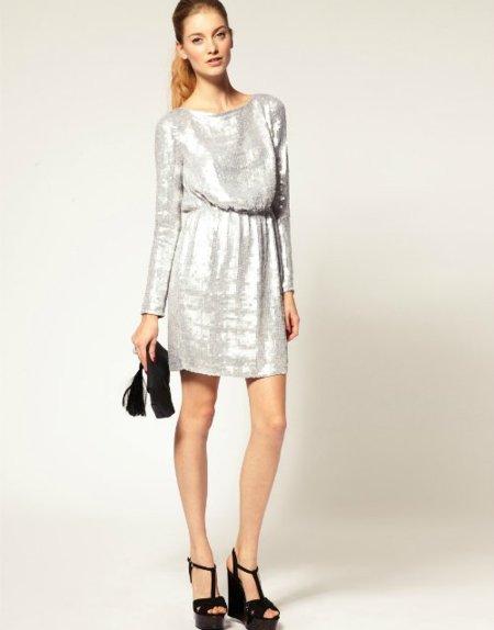vestido plateado asos