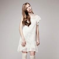 vestido corto volantes novia otaduy