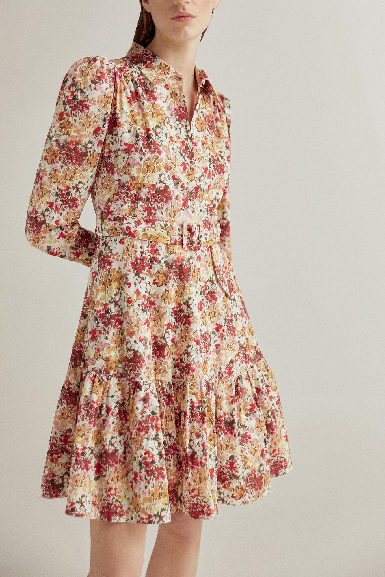 Vestido estampado en algodón orgánico de flores