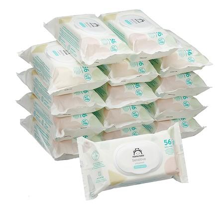 Pack de 15 paquetes de toallitas para bebé Mama Bear Sensitive por 16,25 euros. La marca blanca de Amazon es muy económica