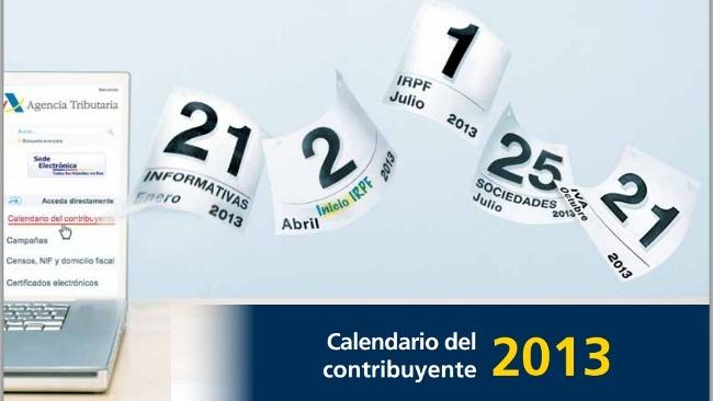 Disponible el calendario del contribuyente 2013 de la Agencia Tributaria