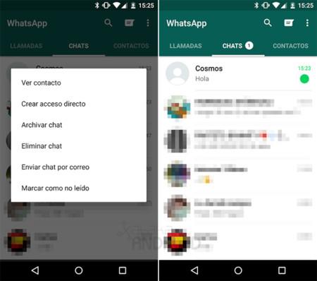 Cómo marcar como no leída una conversación en WhatsApp