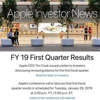 Apple presentará sus resultados financieros del primer trimestre fiscal de 2019 este 29 de enero