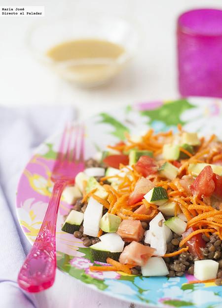 Receta de ensalada de lentejas con vinagreta de mostaza