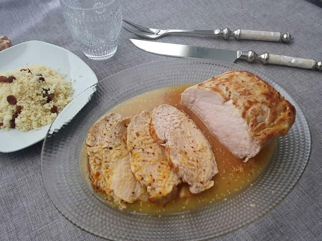 Lomo al horno con naranja, miel y mostaza