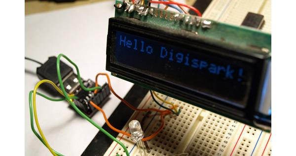 Digispark usado para mostrar información en un display.