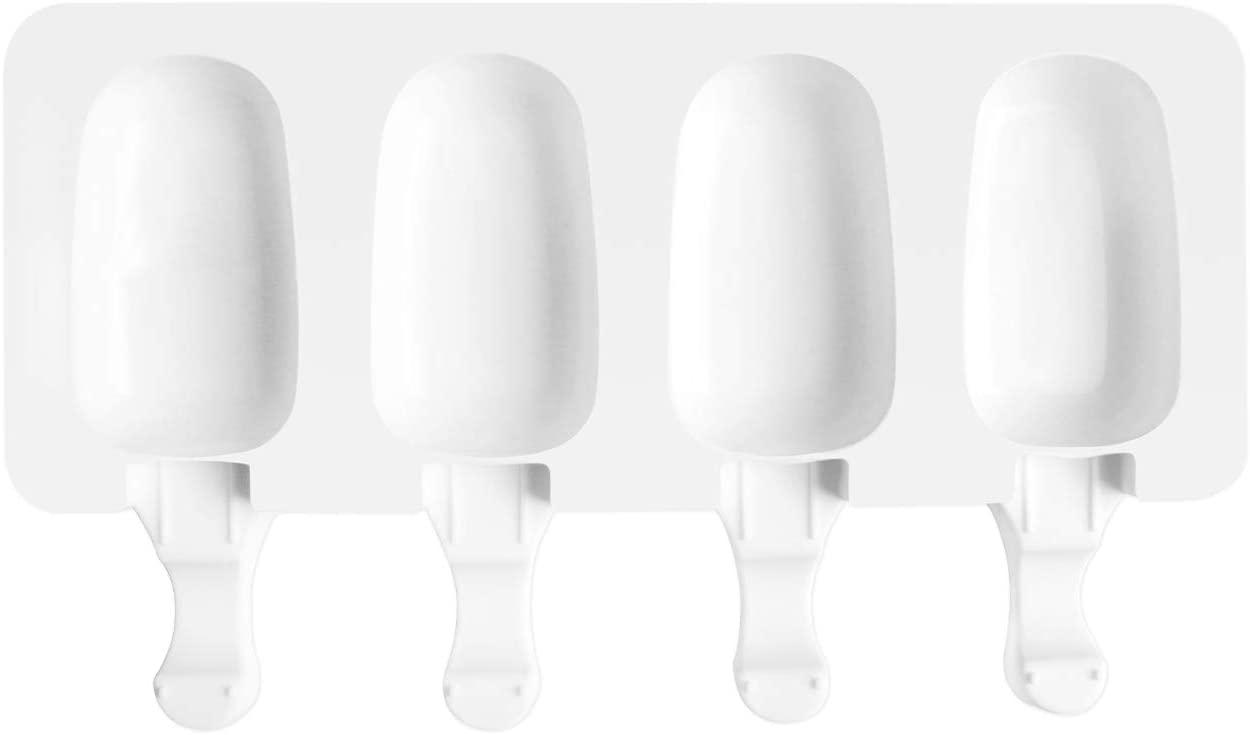 AWIIK - Moldes Helados Silicona para Hacer Helados pequeños en el congelador. Molde para Helados caseros, Helados saludables, moldes Polos fit (Incluye 50 Palos de Madera Reutilizables) (1)