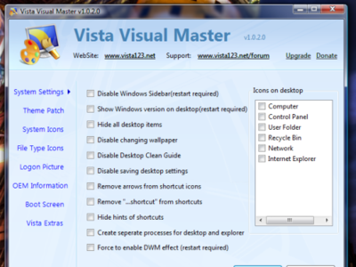 Vista Visual Master, personaliza Windows Vista fácilmente