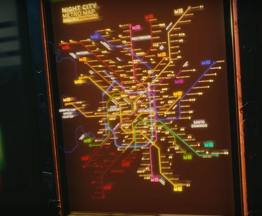 Cyberpunk 2077 Mapa Metro