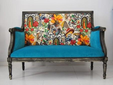 Una buena idea dale vida a tus muebles antiguos con la - Telas para tapizar sillones modernos ...