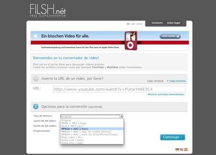 Filsh, conversor online de vídeos
