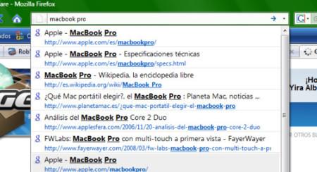 Cybersearch, resultados de Google en la barra de direcciones de Firefox 3