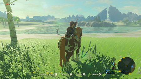 Link cabalgando en el videojuego The Legend of Zelda: Breath of the Wild.