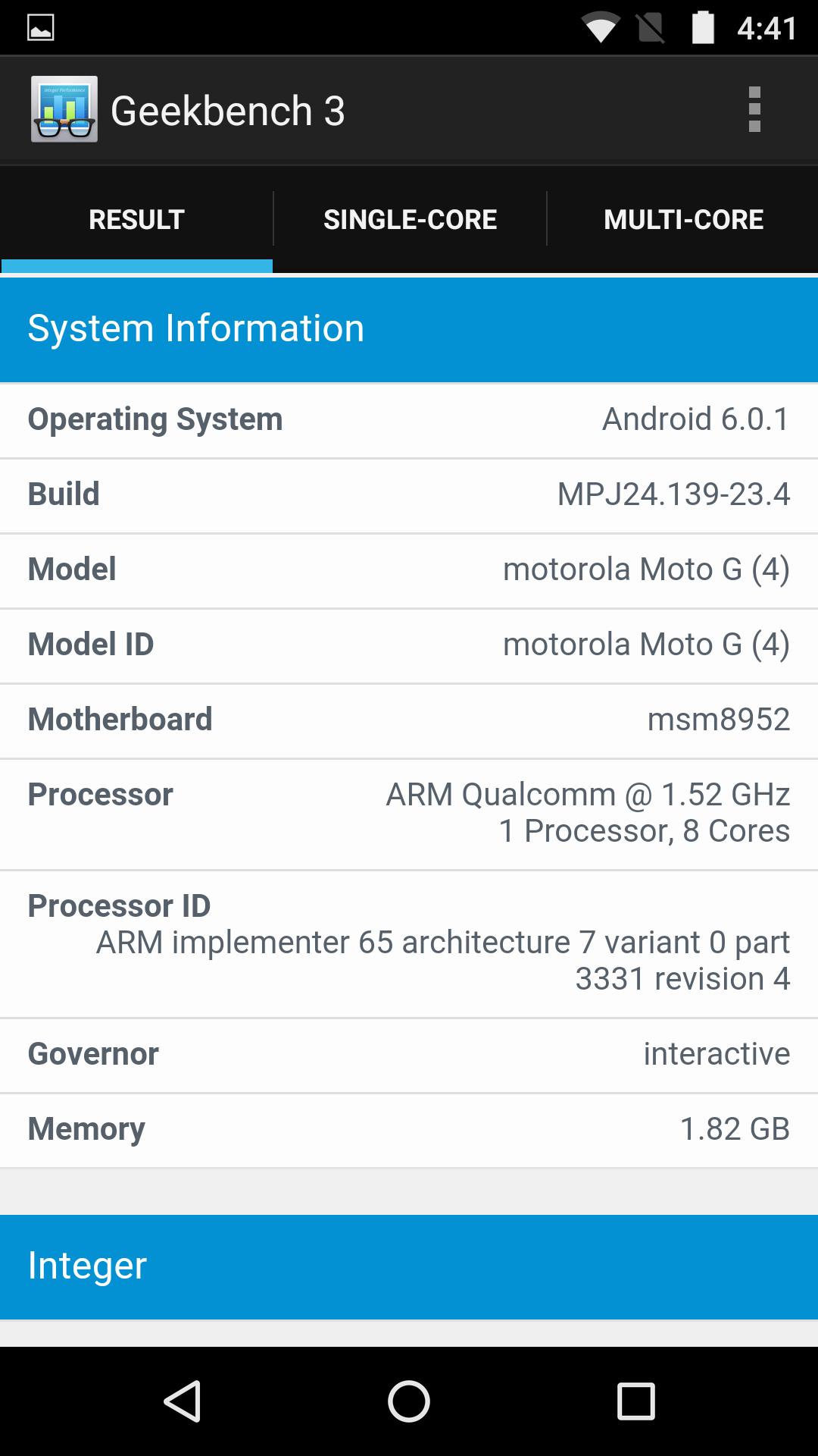 Moto G4, benchmarks
