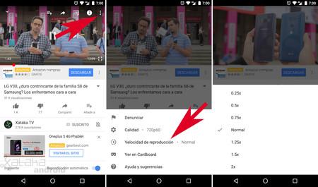Cambiar velocidad de reproducción YouTube