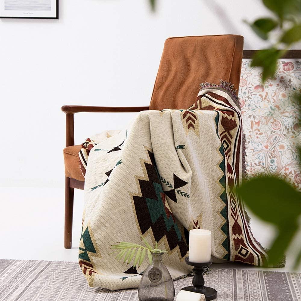 (90*90cm) Manta tribal étnica azteca con estampado navajo geométrico para sofá, decoración bohemia