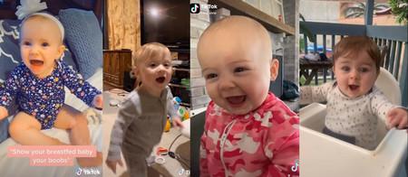 Las adorables reacciones de alegría de los bebés que son amamantados al ver el pecho de sus madres