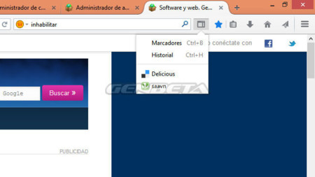 Firefox 30, botón de control de barras laterales